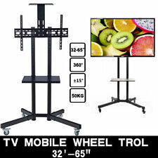 """LED PLASMA LCD TV STAND MOUNT BRACKET MOBILE TROLLEY WITH WHEELS FOR 32 to 65"""""""
