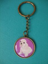Cocker Spaniel Dog Keyring Puppy Metal Handmade Bag Charm Bronze Tone Violet