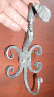 Wall Hook Coat Hat Hanger, Rustic Scroll Wrought Iron, by Blacksmiths in USA