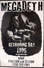 Megadeth, Korn, Fear Factory   Reckoning Day   Orig. 1995 Promo Poster
