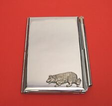 Border Collie Dog Motif on Chrome Notebook / Card Holder & Pen Christmas Gift