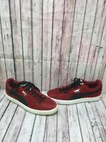 Puma SUEDE Red/Black Suede Lace Up Low Top Shoes Men's Size 8.5