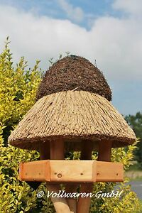 Reetdach Vogelhaus Stettin klein Kiefer Vogelvilla Futterhaus OHNE Ständer
