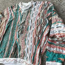 COOGI 3D Authentic Multicolored Rainbow Pastel Vintage 90s Sweater Mens L Biggie