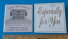 VIRGINIA TECH CORPS OF CADETS WORLD WAR I MEMORIAL LEST WE FORGET COASTER