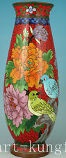 Chinese Rare Old Red Cloisonne Hand Painting Flower Bird Vase Hoem Decoration