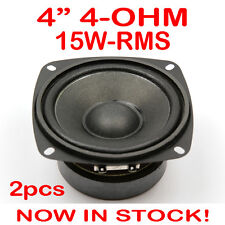 "2x 4"" 15WRMS PA DJ Speaker Subwoofer Woofer Sub Driver 4 Inch 4 Ohms Quality"