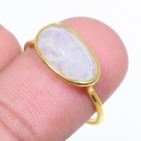 Rainbow Moonstone Handmade Gold Plated 925 Sterling Silver Ring Size 7.5,Gift