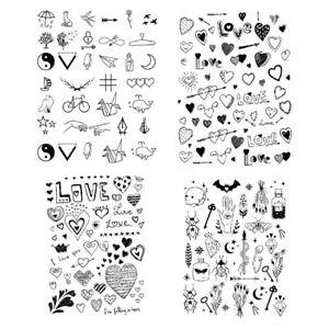 Love Heart Temporary Tattoo Sticker Waterproof Black Classic Adult Men Women