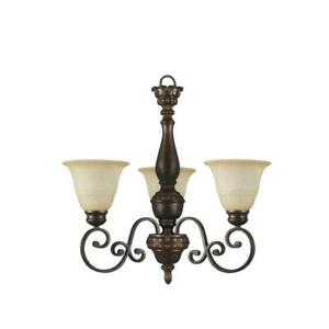Hampton Bay Carina 3-Light Aged Bronze Chandelier with Tea-Stained Glass Shade