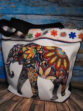 Tote bag Beach bag multi colour funky designer Holiday festival Elephant tote