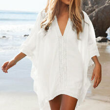 Womens Summer Beach Beachwear Swimwear Bikini Cover Up Kaftan Mini Dress White