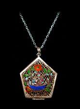 Pretty ANTIQUE *FLORAL ENAMEL VINAIGRETTE*Double Sided STERLING Pendant Necklace