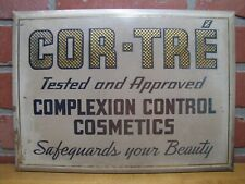 COR-TRE' COMPLEXION CONTROL COSMETICS Old Beauty Parlour Shop Advertising Sign
