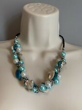 Chunky Blue Pearl Shell Beads Statement Necklace Costume Jewellery Holiday