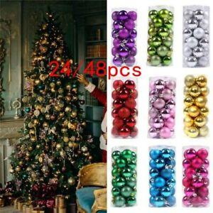 30MM Christmas Decor Baubles Tree Xmas Balls Party Wedding Ornament 24/48pcs
