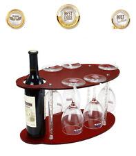 Wine Rack, Bottle, 5 Glass Holder, Kitchen Bar Wine Stemware Storage Organizer