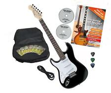 Left Hand Electric Guitar Beginner Pack Gigbag Cable Strings Tremolo Picks Black