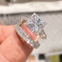 925 Silver White Sapphire Wedding Band Rings Set Women Fashion Jewelry Size 5-10