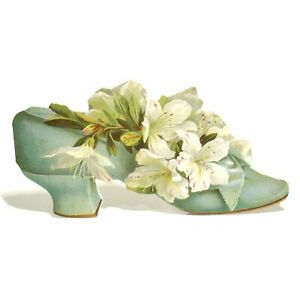 6 Floral Shoes Blank Inside Greeting Cards (EW)