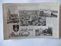 Ansichtskarte Stralsund 1951 Bahnhof Mole Altstadt