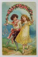 Postcard Birthday Greetings Boy Girl Dancing Flowers Vintage