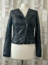 H&M Black Faux Leather Quilted Detail Biker Jacket Size 10