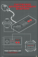 Nintendo Entertainment System Controller Diagram Video Gaming Poster 24x36 inch