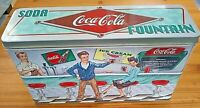 Classic Vintage 1998 Embossed Coca-Cola Soda Fountain  Collectible Tin