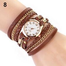 Brown Women's Vintage Weave Wrap Rivet Leather Bracelet Wrist Watch Loud
