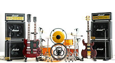 Led Zeppelin Miniature Guitars and Drum Set B with Timpani, Gong, Amps & Mic