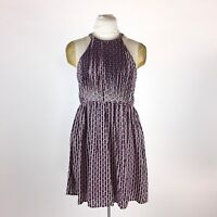 Ara Boutique Modcloth Blue Halter Dress M Pink Geometric Pleated Fit & Flare NWT