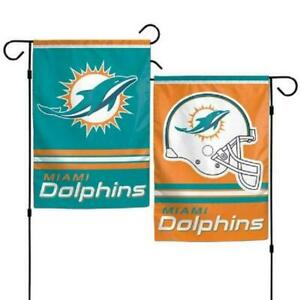 Miami Dolphins Garden Flag 2 Sided Outdoor Window Yard Banner New