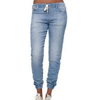 Women Denim Drawstring Elastic Low Waist Jeans Casual Cuffed Trousers Pants Plus