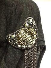 Mystree Black Cardigan Sweater Vest Shrug Embellished Beaded Large