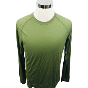Smartwool Mens Base Layer Top Green Heathered Long Sleeve Crew Neck Pullover M