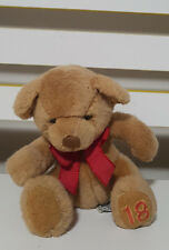 RUSS BERRIE PLUSH TOY HONEY BEAR WITH 18 ON HIS FOOT 14CM!