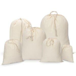 Pack of 5 Drawstring 100% Cotton Xmas/Sack/Stocking/Storage/Laundry Bags