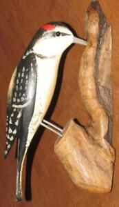 HAIRY WOODPECKER carved JIM SLACK Pekin IL BIRD Figure Wall Mount decoy carver