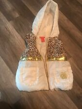 Applebottom Puffy Coat Vest Size 5/6 Zip Up White Gold And Leopard Print