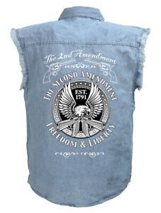 Mens Second Amendment Eagle Guns Blue Denim Sleeveless Cutoff Biker Shirt