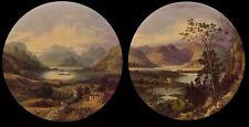 Antiguo Par Paisaje Escocés pinturas al óleo enumerados artista John Bell 1811-1895