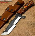 SFK Unique Handmade D2 Tool Steel Hard Wood Hammered Hunting Tracker Knife