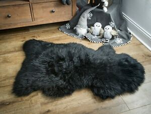 Follkee Sheep Skin Rug, Iceland Merino Premium Quality Black