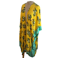 Matilda Jane Boho Bohemian Kimono Flowy Wrap Yellow Green Floral XL / XXL