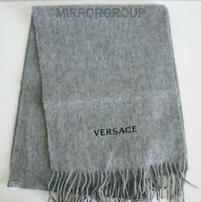 NWT Authentic VERSACE Gray 100% WOOL Long Scarf ITALY