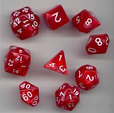 NEW SPECIALTY  RPG Dice 9pc - Pearl Red - standard set plus D24 & D30