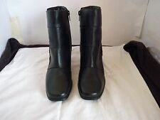BLACK LADIES LEATHER MID HEEL ZIP ABOVE ANKLE BOOTS SIZE 8.5