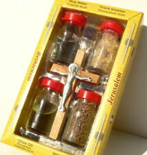 Conjunto de Tierra Santa: aceite bendito, agua, arena, incienso, cruz Jesucristo