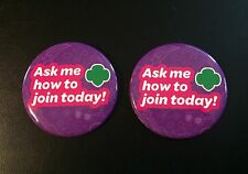New GIRL SCOUTS 2 Trefoil Logo Pins Ask Me How To Join Membership Cookie Booth